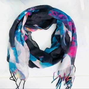 Accessories - Abstract floral gauze blue and black fringed scarf